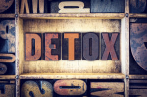 Sign showing step 1 in Recovery: Detox